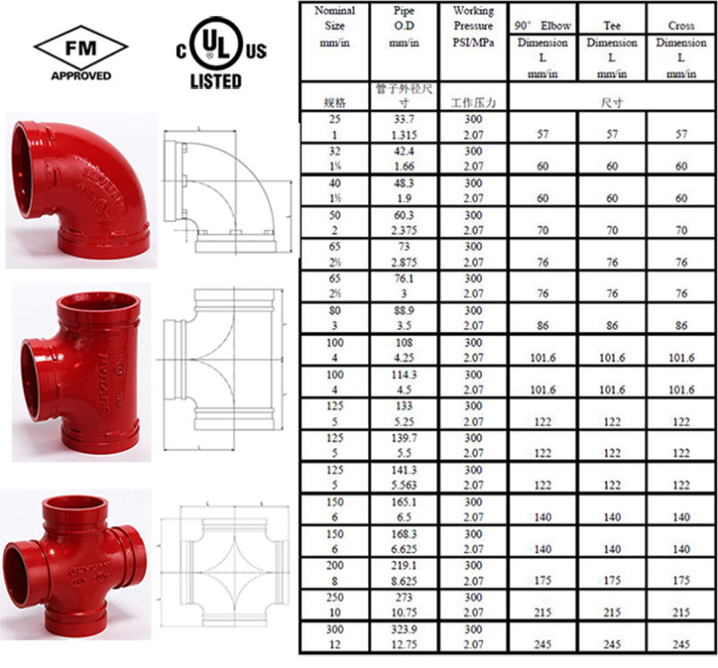 High Quality Ductile Irongrooved Mechanical Tee (FM/UL) 4