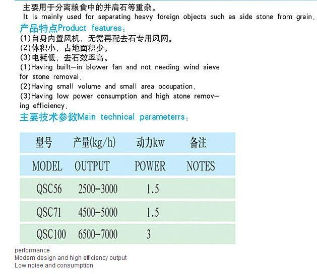 Grain cleaning Machine Suction Specific Gravity Stonner Rice Destoner
